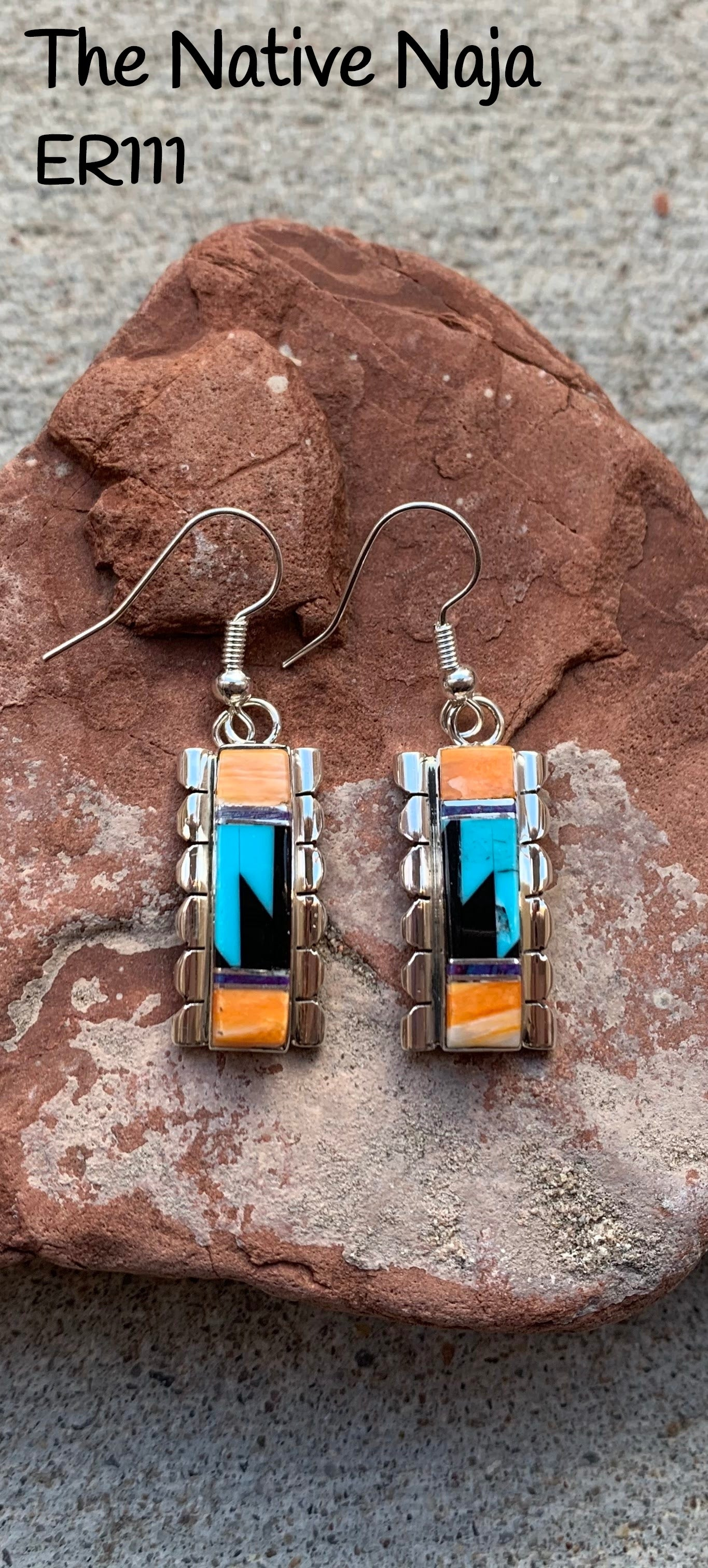 Navajo Sterling Silver Multi Stone Spiny Oyster Inlay French Hook Earrings ER111
