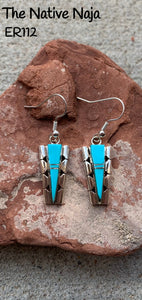 Navajo Inlay Sterling Silver & Genuine Turquoise French Hook Earrings ER112