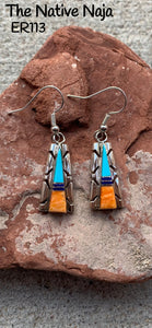 Navajo Inlay Sterling Silver, Black Onyx, Turquoise, Spiny Oyster French Hook Earrings ER113