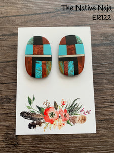 Santo Domingo Pueblo Multi Stone Inlay Post Earrings ER122