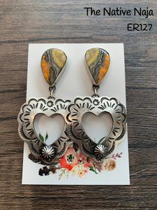 Large Navajo Genuine Oxidized Sterling Silver & Bumblebee Heart Post Earrings ER127