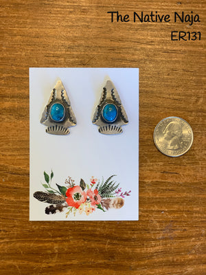 Navajo Kingman Turquoise & Sterling Silver Arrowhead Post Earrings ER131