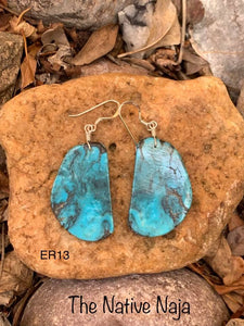 Navajo Sterling Silver & Genuine Kingman Turquoise Slab Earrings ER13