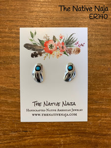Dainty Navajo Bear Claw Sterling Silver & Kingman Turquoise Earrings ER140