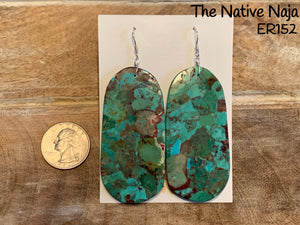 Large Navajo Mosaic Turquoise & Sterling Silver French Hook Slab Earrings ER152