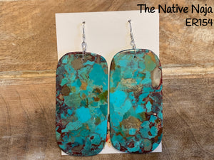 Large Navajo Mosaic Turquoise & Sterling Silver French Hook Slab Earrings ER154