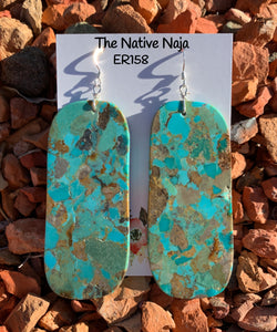 Large Navajo Mosaic Turquoise & Sterling Silver French Hook Slab Earrings ER158