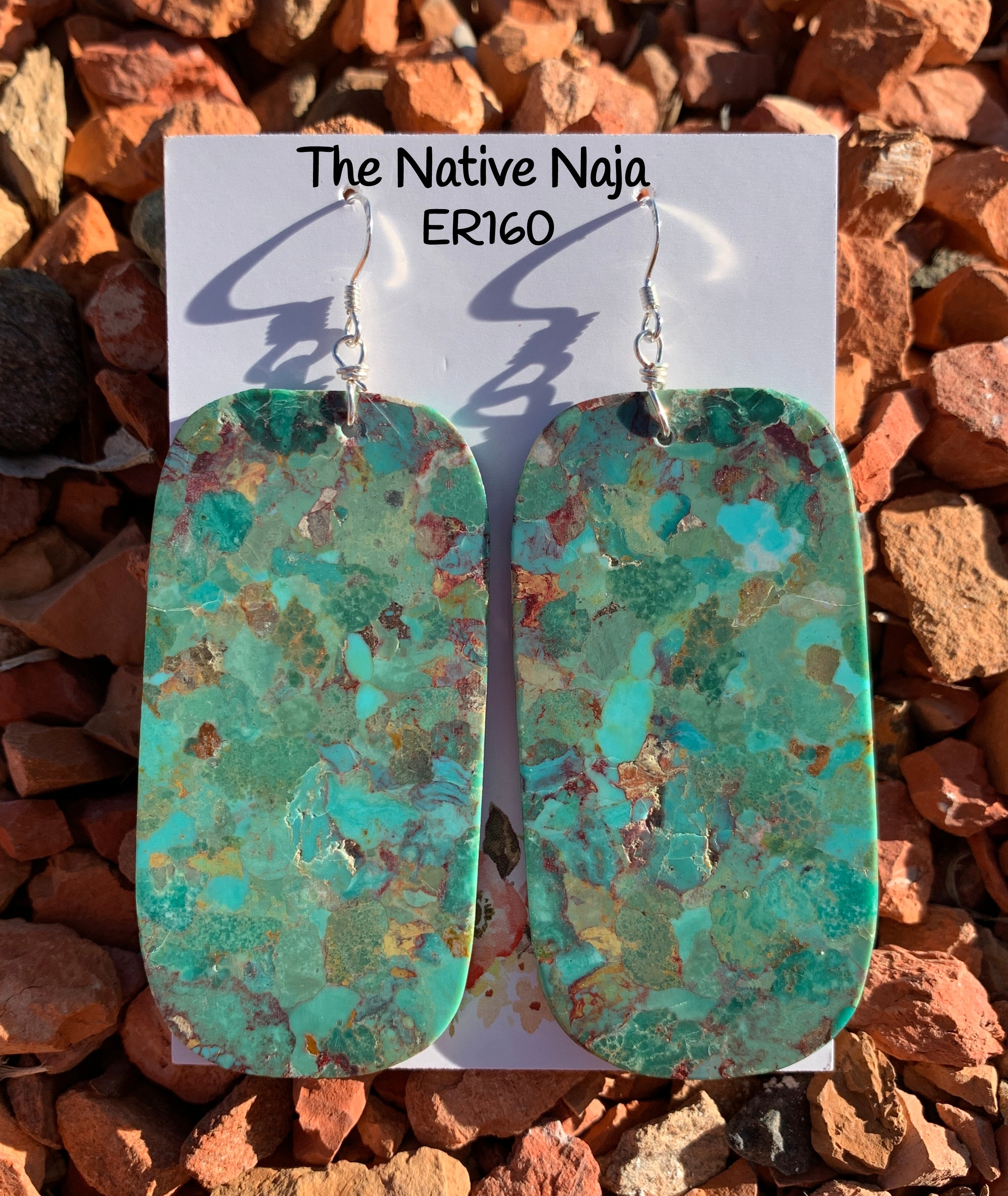 Large Navajo Mosaic Turquoise & Sterling Silver French Hook Slab Earrings ER160