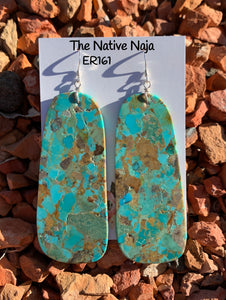 Large Navajo Mosaic Turquoise & Sterling Silver French Hook Slab Earrings ER161