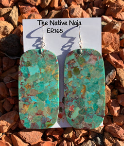 Large Navajo Mosaic Turquoise & Sterling Silver French Hook Slab Earrings ER165