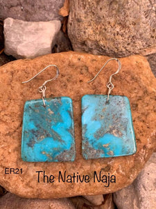 Navajo Sterling Silver & Genuine Kingman Turquoise Slab Earrings ER21