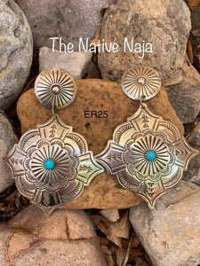 Navajo Sterling Silver & Genuine Turquoise Concho Earrings ER25