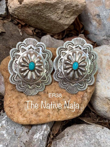 Navajo Sterling Silver & Genuine Turquoise Concho Earrings ER38