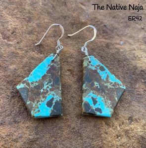 Navajo Sterling Silver & Genuine #8 Turquoise French Hook Slab Earrings ER42