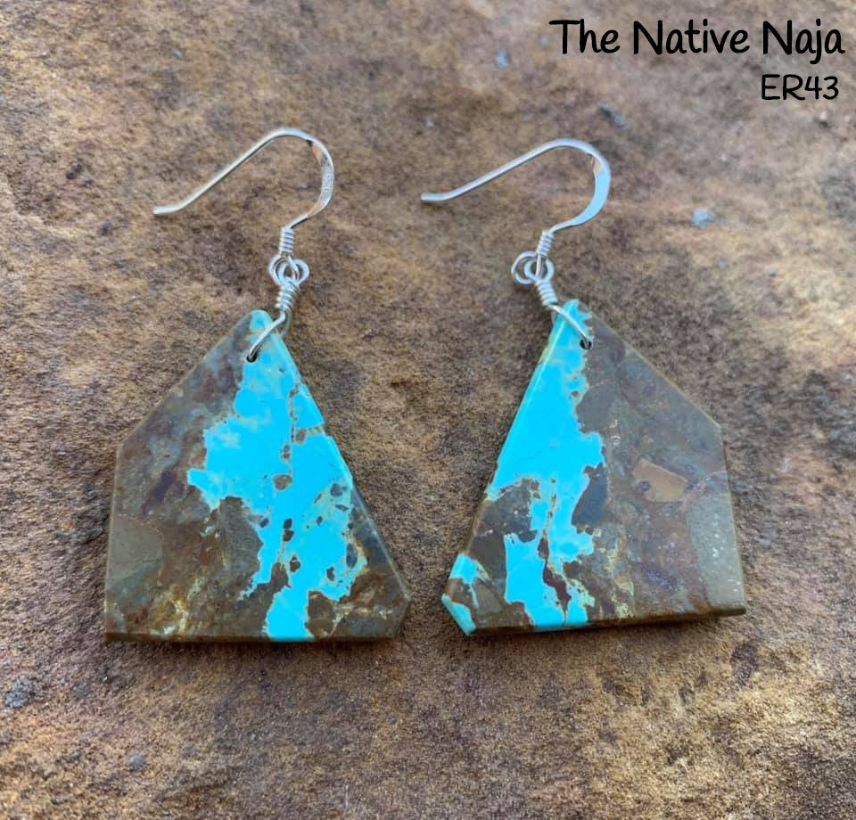 Navajo Sterling Silver & Genuine #8 Turquoise French Hook Slab Earrings ER43