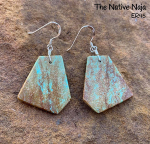 Navajo Sterling Silver & Genuine #8 Turquoise French Hook Slab Earrings ER45