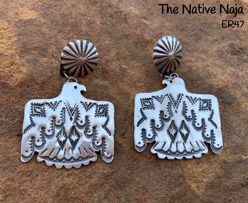 Large Navajo Concho Sterling Silver Thunderbird Earrings ER47