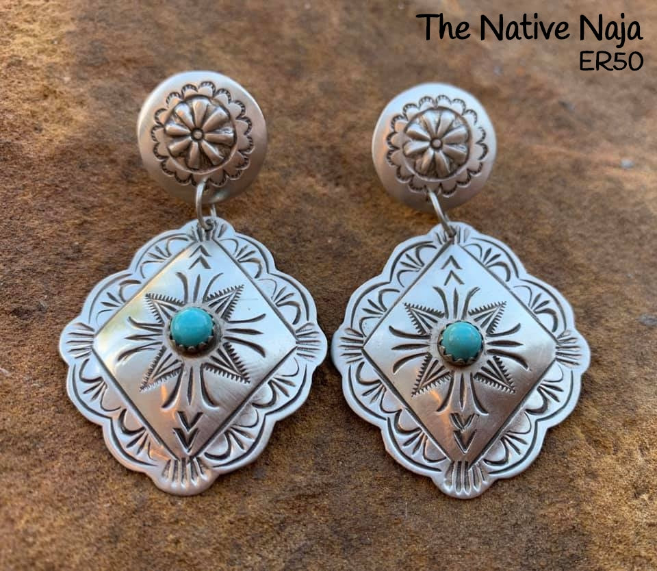 Dainty Navajo Sterling Silver & Genuine Turquoise Concho Earrings ER50