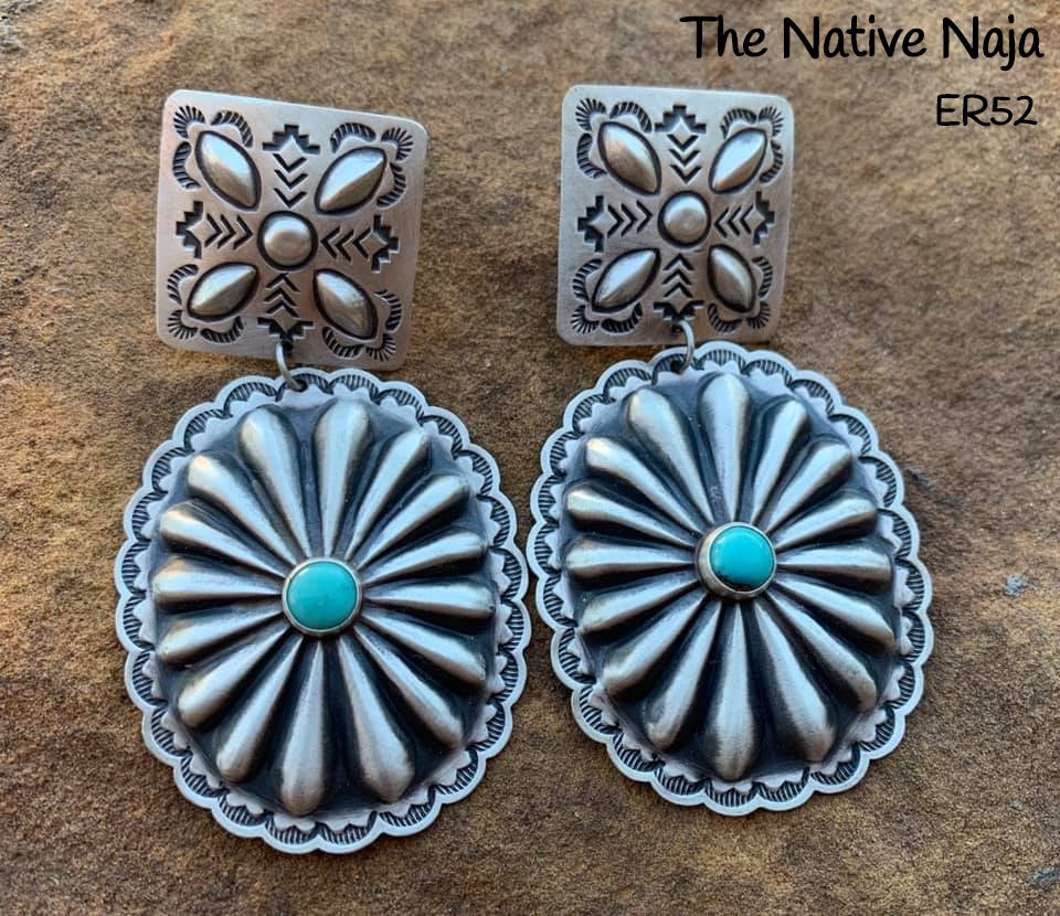 Stunning Large Navajo Sterling Silver & Genuine Turquoise Concho Earrings ER52