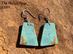Navajo Sterling Silver & Genuine #8 Turquoise French Hook Slab Earrings ER57