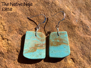 Navajo Sterling Silver & Genuine #8 Turquoise French Hook Slab Earrings ER58