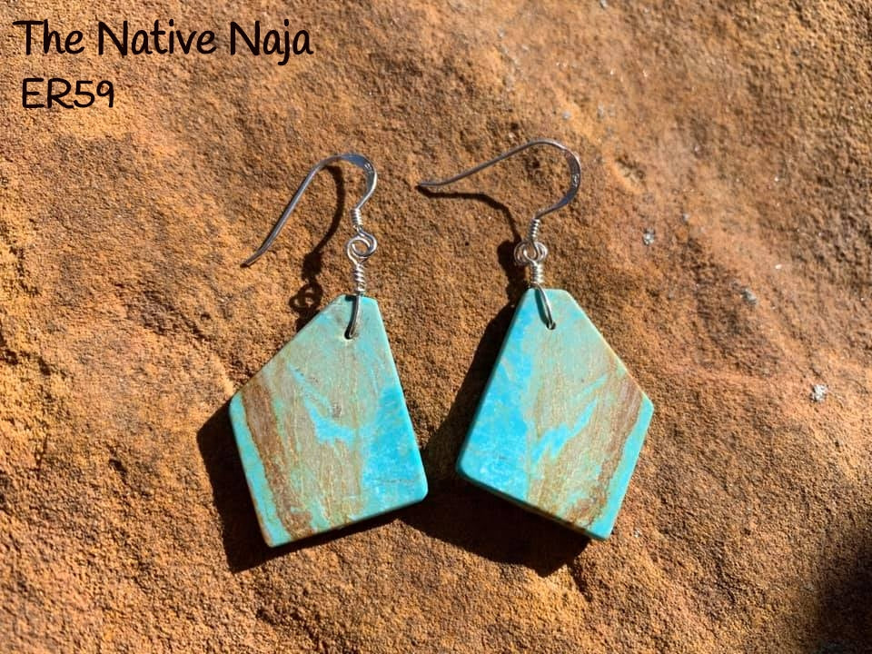 Navajo Sterling Silver & Genuine #8 Turquoise French Hook Slab Earrings ER59