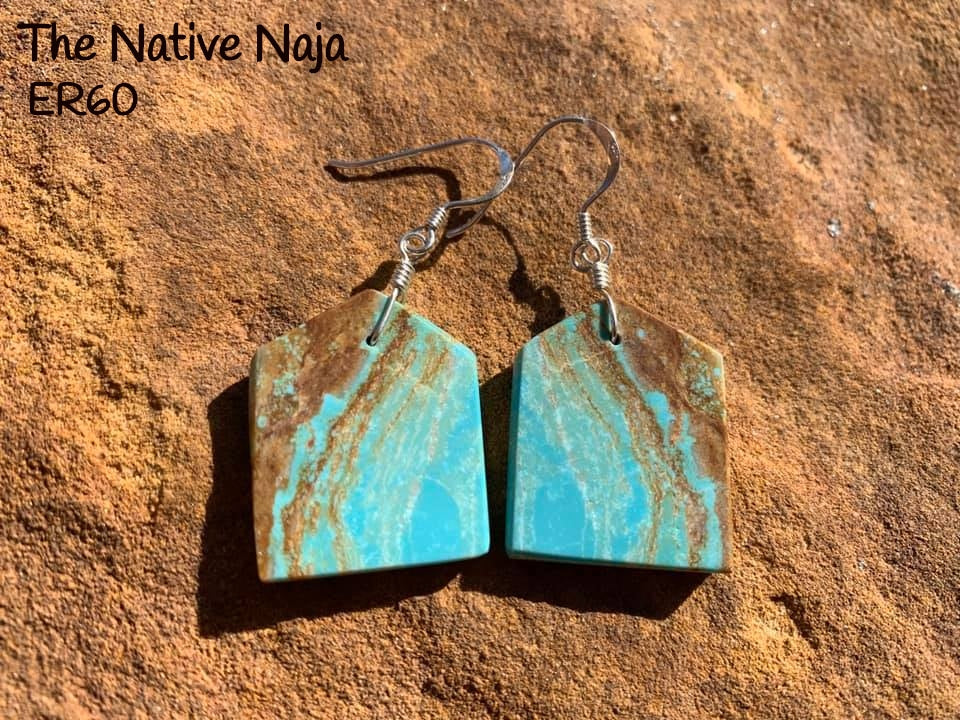 Navajo Sterling Silver & Genuine #8 Turquoise French Hook Slab Earrings ER60