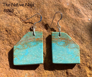Navajo Genuine Sterling Silver & Mine #8 Turquoise French Hook Slab Earrings ER63