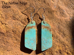 Navajo Sterling Silver & Genuine #8 Turquoise French Hook Slab Earrings ER64