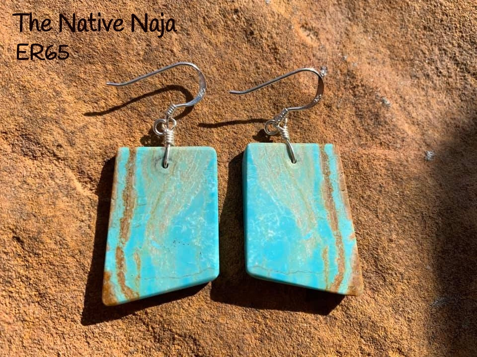 Navajo Sterling Silver & Genuine #8 Turquoise French Hook Slab Earrings ER65