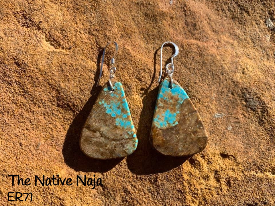 Navajo Sterling Silver & Genuine #8 Turquoise French Hook Slab Earrings ER71