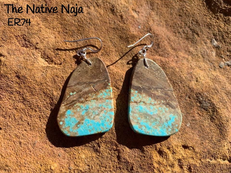 Navajo Sterling Silver & Genuine #8 Turquoise French Hook Slab Earrings ER74
