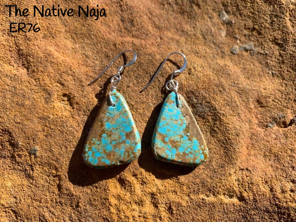 Navajo Sterling Silver & Genuine #8 Turquoise French Hook Slab Earrings ER76