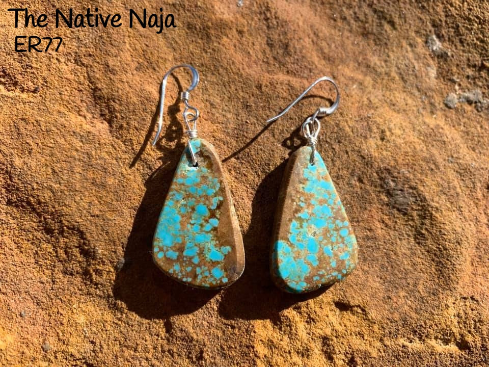Navajo Sterling Silver & Genuine #8 Turquoise French Hook Slab Earrings ER77