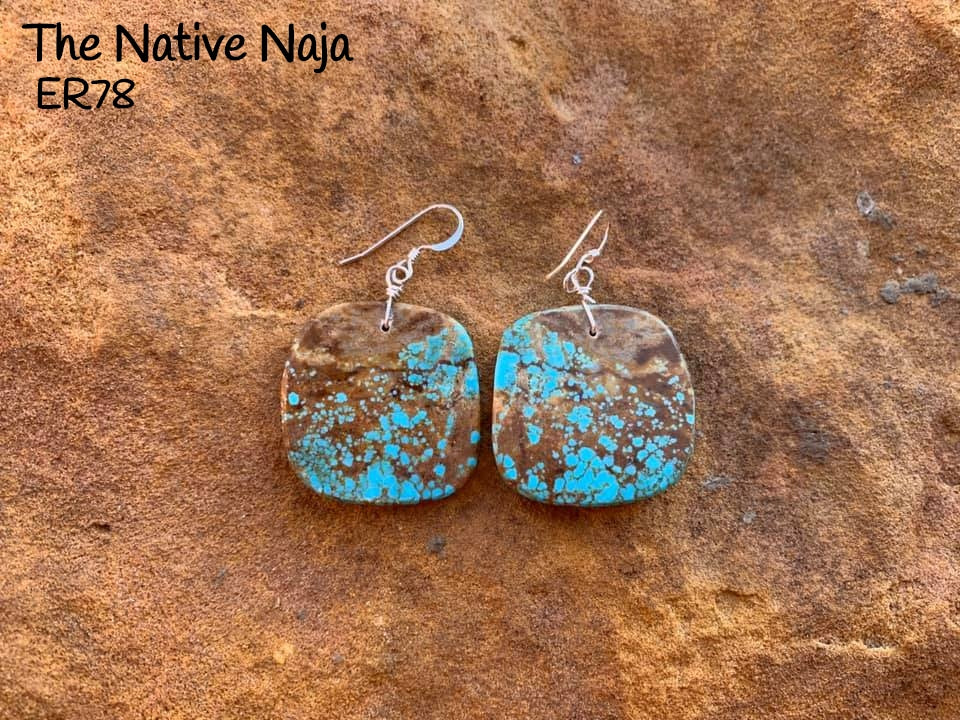 Navajo Sterling Silver & Genuine #8 Turquoise French Hook Slab Earrings ER78