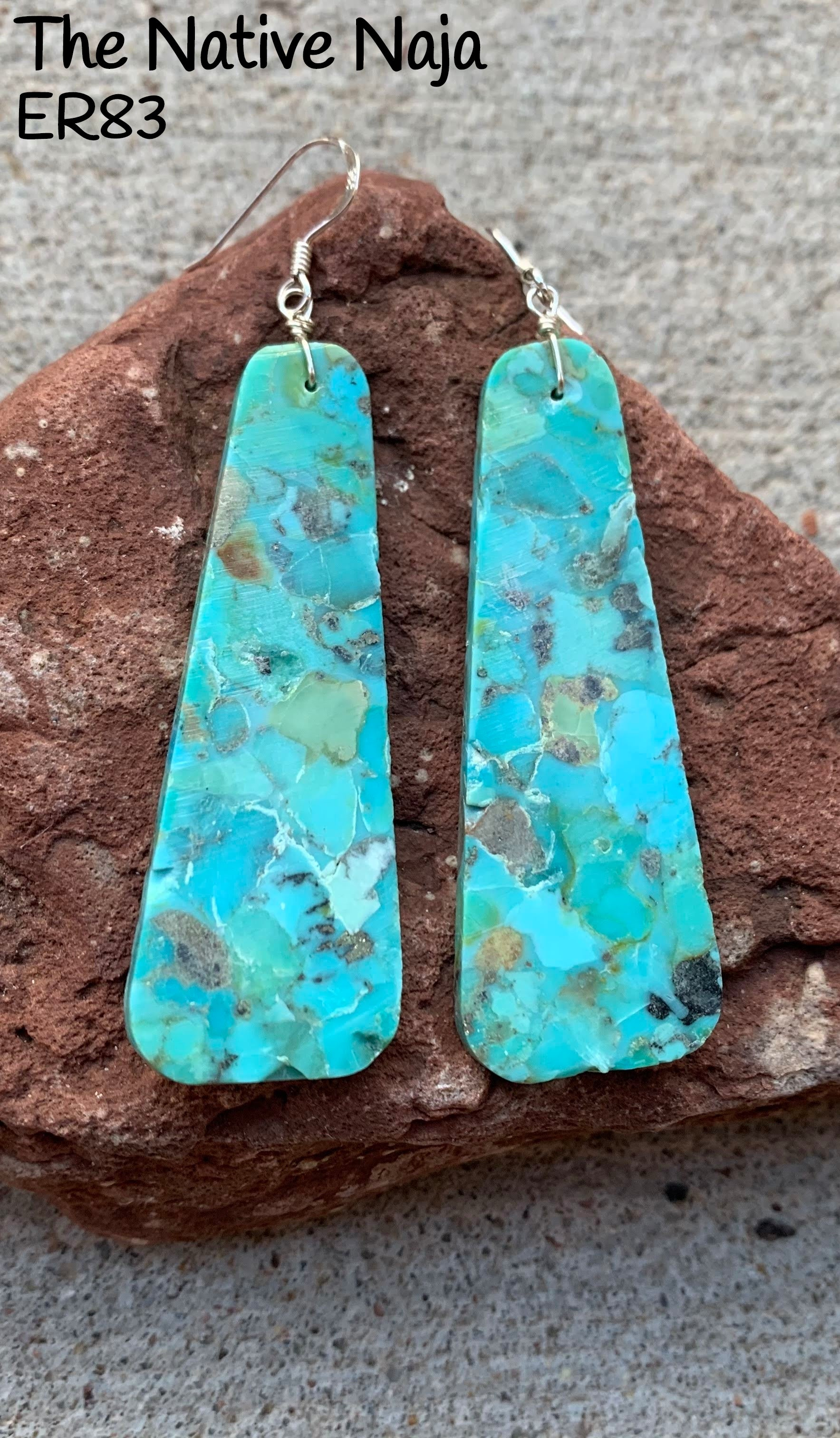 Large Navajo Sterling Silver & Genuine Kingman Turquoise French Hook Slab Earrings ER83