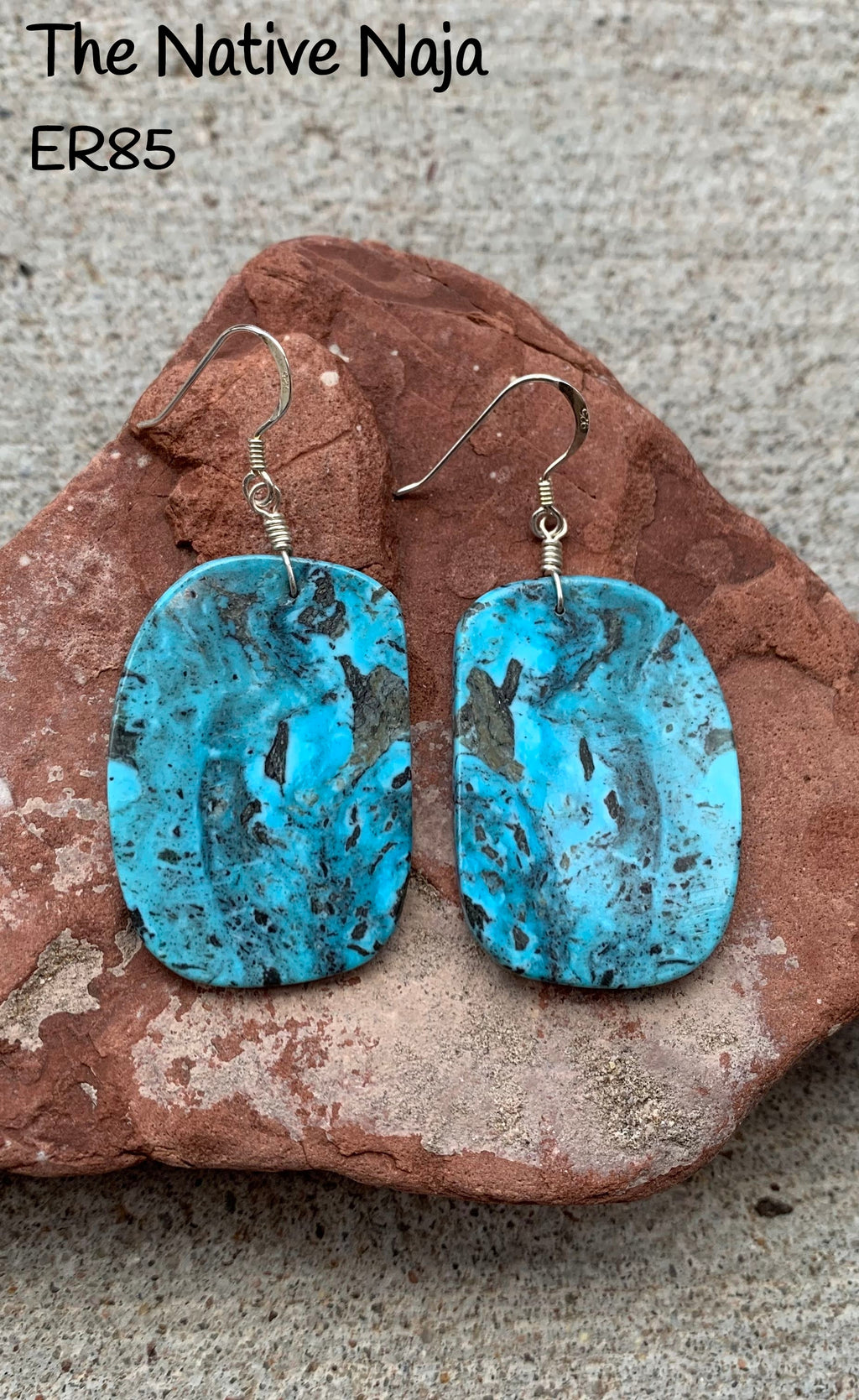 Large Navajo Genuine Sterling Silver & Kingman Turquoise French Hook Slab Earrings ER85