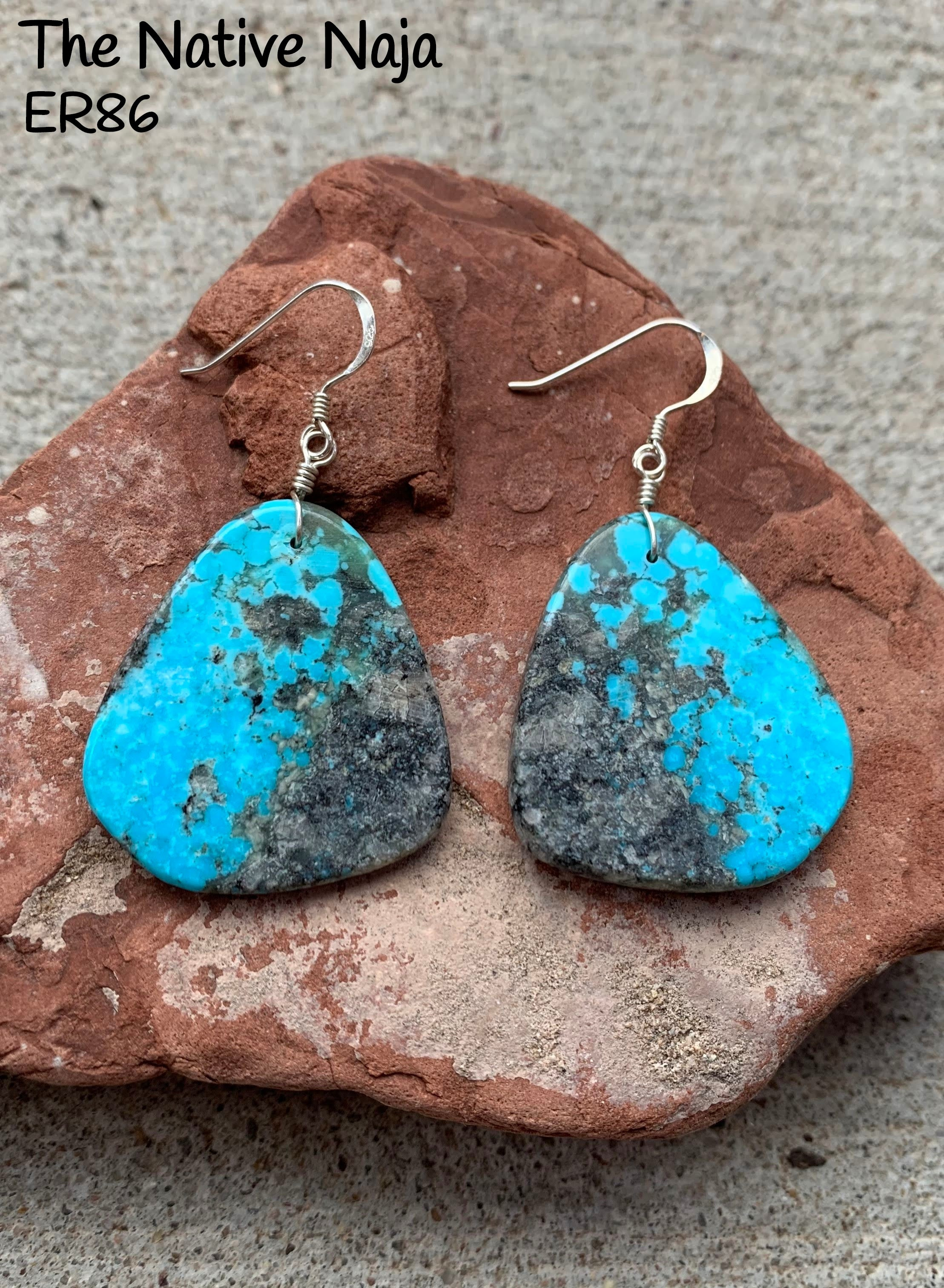 Large Navajo Genuine Sterling Silver & Kingman Turquoise French Hook Slab Earrings ER86