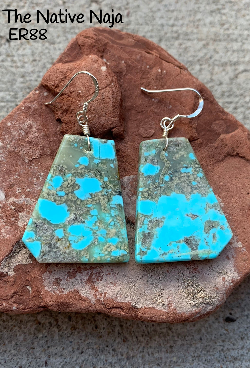 Large Navajo Genuine Sterling Silver & Kingman Turquoise French Hook Slab Earrings ER88