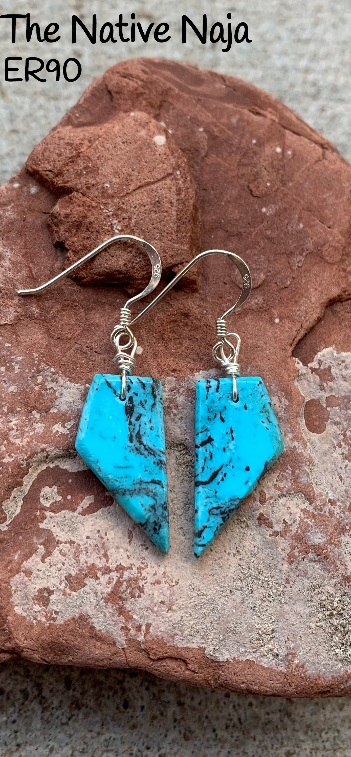 Dainty Navajo Sterling Silver & Genuine Kingman Turquoise French Hook Slab Earrings ER90