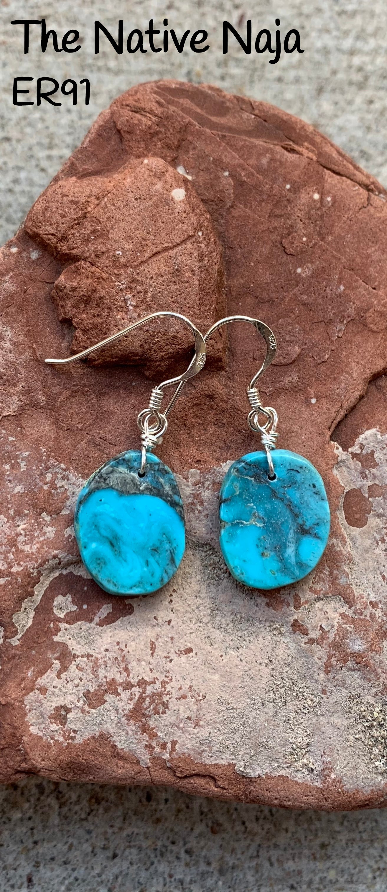 Dainty Navajo Sterling Silver & Genuine Kingman Turquoise French Hook Slab Earrings ER91