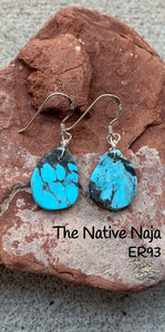Dainty Navajo Sterling Silver & Genuine Kingman Turquoise French Hook Slab Earrings ER93