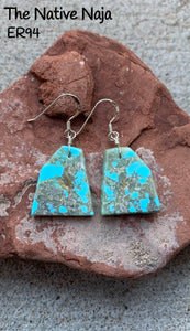 Navajo Sterling Silver & Genuine Kingman Turquoise French Hook Slab Earrings ER94
