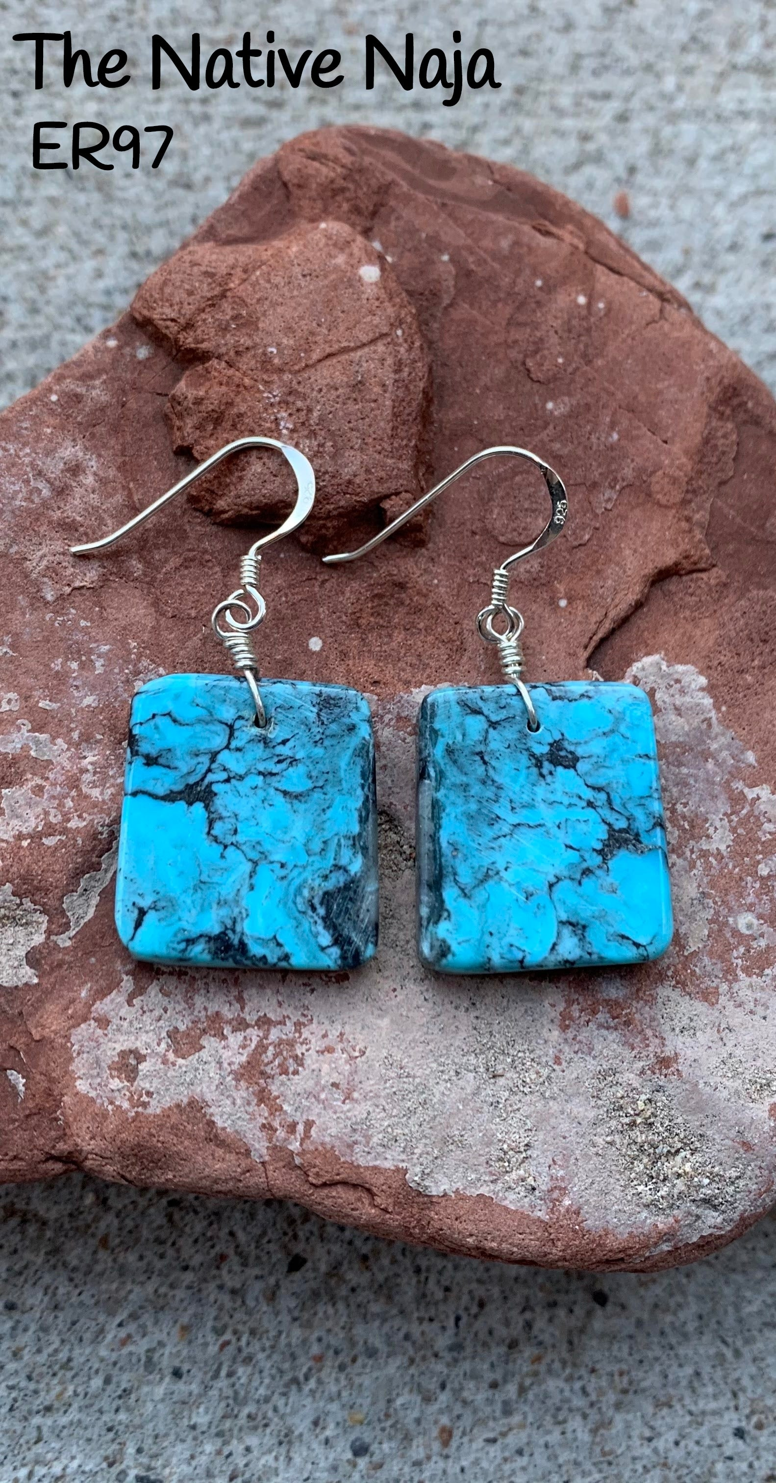 Navajo Sterling Silver & Genuine Kingman Turquoise French Hook Slab Earrings ER97