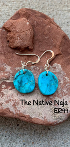 Dainty Navajo Sterling Silver & Genuine Kingman Turquoise French Hook Slab Earrings ER99