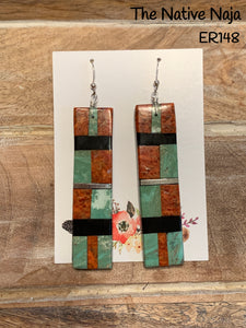 Large Santo Domingo Pueblo Genuine Sterling Silver & Multi Stone Inlay French Hook Earrings ER148