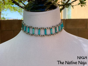 Corrugated Sterling Silver Pearls & Jasper Turquoise Choker Necklace NK69