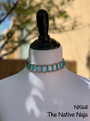 Corrugated Sterling Silver Pearls & Jasper Turquoise Choker Necklace NK68