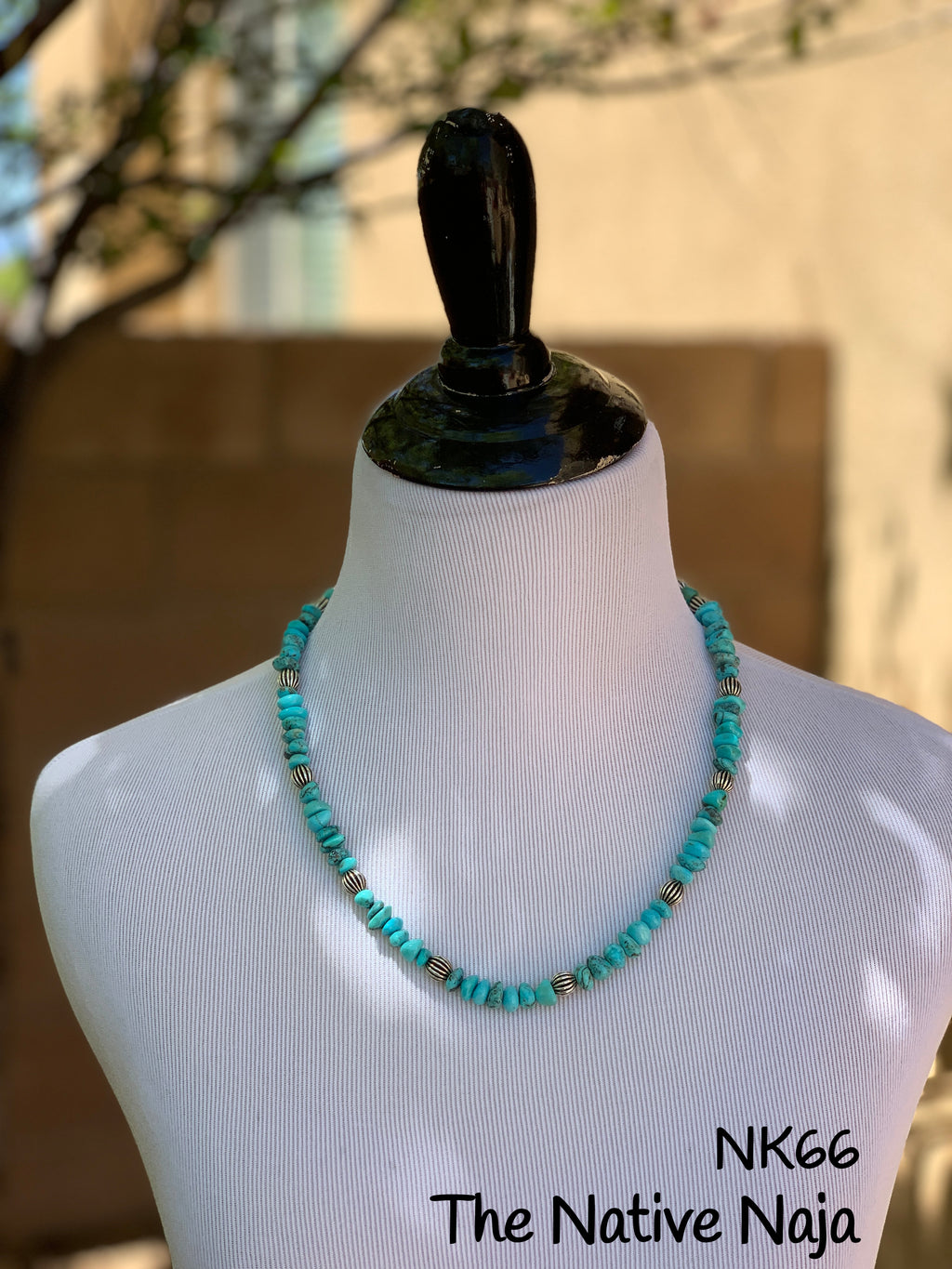 "22"" Sterling Silver Corrugated Pearls & Genuine Campitos Turquoise Necklace NK66"