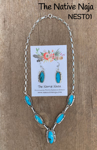 Navajo Sterling Silver & Genuine Turquoise Necklace & Earring Set NEST01